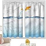 Cortinas para barra de bolsillo, acuario, diseño de peces de colores pequeños que saltan 52 x 95 pulgadas con aislamiento térmico