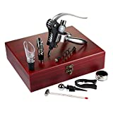 AMAVEL Set 10 Accessori Vino da Sommelier, Confezione in Legno Inclusa, Idea Regalo Originale