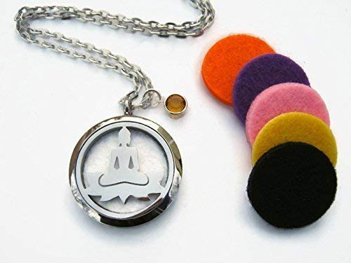 Buddha Essential Oil Diffuser Locket Necklace, Stainless Steel Aromatherapy Pendant Necklace with Assorted Felt Diffuser Pads