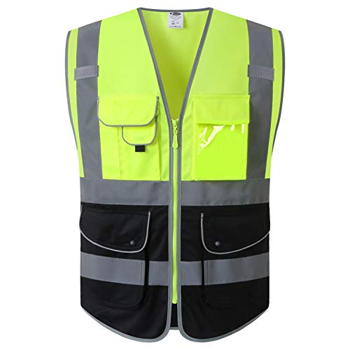 JKSafety 9 Pockets High Visible Reflective Safety Vest Zipper Front Breathable Lining?Yellow-Black Meets ANSI/ISEA Standards(Yellow-Black, XX-Large?