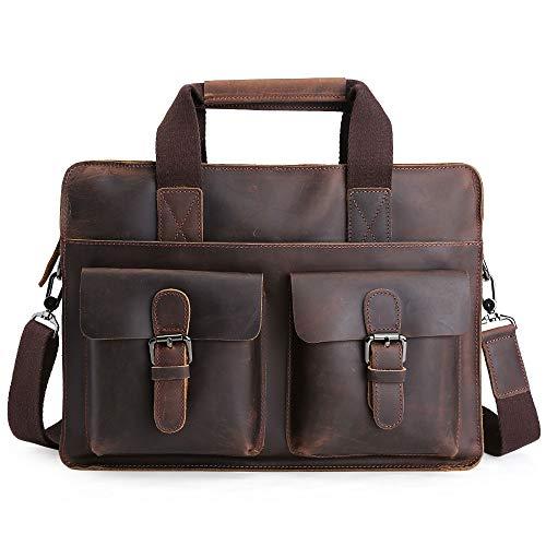 SULUO Men's Business Leather Briefcase, 14 Inch Laptop Handbag, Large Capacity Messenger Shoulder Bag, Vintage Document Tote