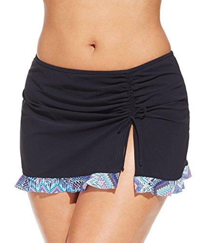 Profile by Gottex Women's Plus-Size Asymmetrical Side Tie Skirted Swimsuit Bottom, Skyline Black, 24W