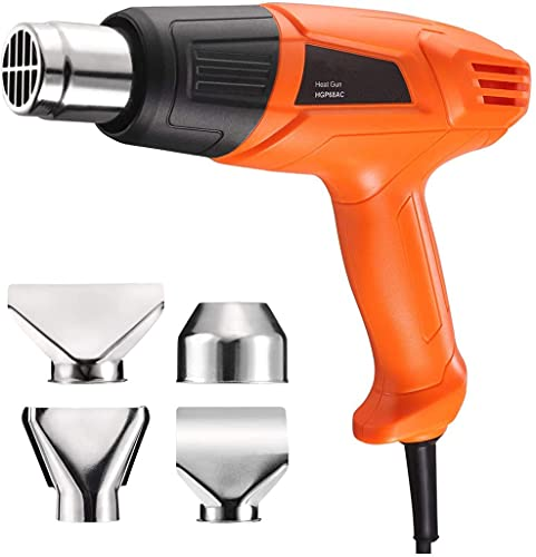 Heat Gun HGP68AC 1500W, (572℉-300L / Min 932℉-500L / Min), Overheat Protection, Hand Free, Ergonomic Scientific Design, 4 Attachments, 2 Years Product Service, 6.56ft Cord, Wide Application