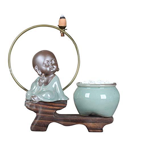 POHOVE Buda Quemador de Incienso, Zen Espalda Flujo Quemador de Incienso Decoración Simple Moderno Cerámica Incienso Soporte con 45 Piezas Reflujo Incienso, Buda para Hogar, Oficina Decoración