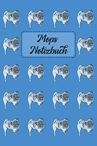 Mops Notizbuch: Journal für Notizen in blau mit Mops-Muster - 6 x 9 (ca. A5)