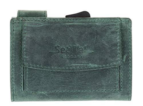 Kartenetui Leder Secwal Geldbörse Smart Mini Alu RFID Schutz + Schlüsseletui (Grün Hunter (SW2 H 05))