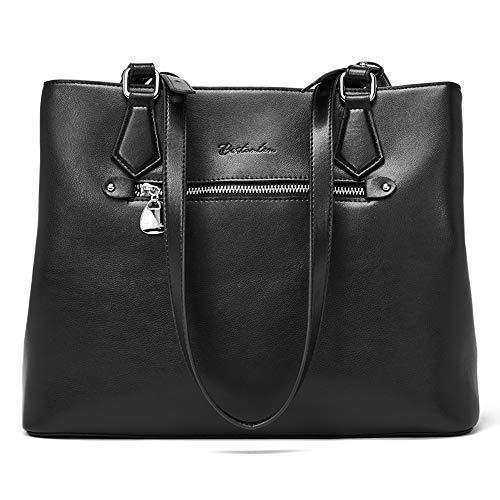BOSTANTEN Women Handbag Genuine Leather Shoulder Bag Soft Designer Top Handle Purses Black