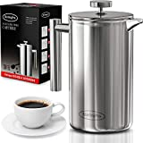 SterlingPro French Press Coffee Maker (1.5L)-Double Walled Large Coffee Press with 2 Free Filters-Enjoy Granule-Free Coffee Guaranteed, Stylish Rust Free Kitchen Accessory-Stainless Steel French Press