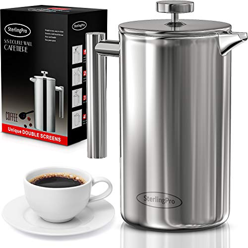 SterlingPro French Press Coffee Maker (1L)-Double...