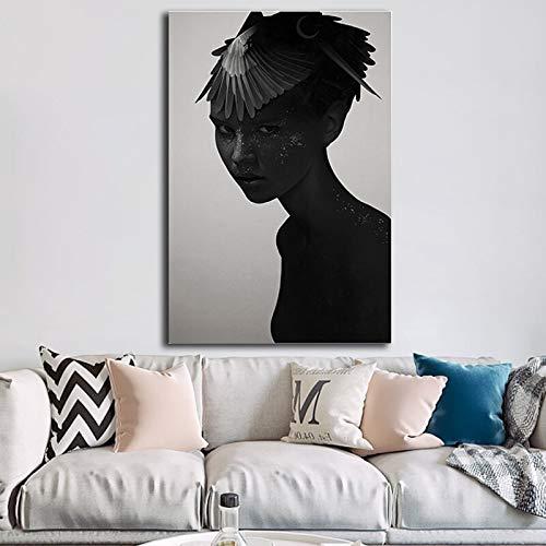 Geiqianjiumai Alle Ihre dunkelsten modernen Leinwandposter und Druckbilder von Wohnzimmerdekoration Rahmenlos gemalt 60x90cm