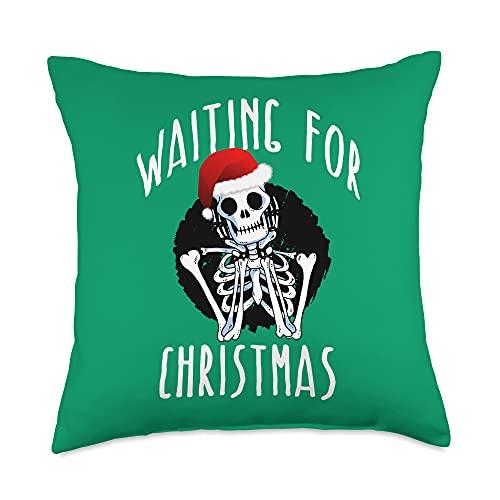 WAITING FOR CHRISTMAS Funny Skeleton Xmas Memes WAITING FOR CHRISTMAS Skeleton Funny Santa Hat Xmas Meme Throw Pillow, 18x18, Multicolor
