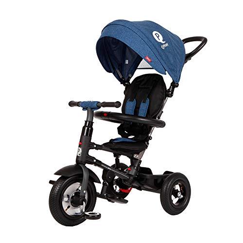 QPLAY Triciclo Evolutivo para Bebés Rito Air - Plegable - con Pedales - Azul - De 10 a 36 Meses - Peso máximo soportable 25kg