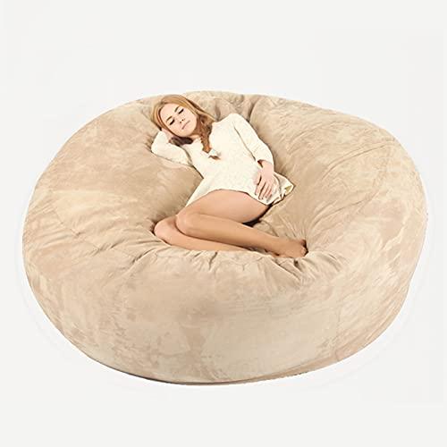 Ninhao 7FT Bohnenbeutel-Stuhlabdeckung, riesige Pelz-Bohnenbeutel-Abdeckung, runder weicher Liege-Sitz Faule Sofas-Cover für Erwachsene Teenager-Kinder (ohne Füllung) (Color : Beige)