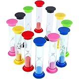 Faburo Set di 12 clessidre con Sabbia, per i Giochi dei Bambini, per Esercizi, Giochi e cspazzolini da Bambini Kitchen Office Decoration