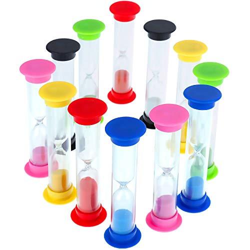 Faburo 12 Stück Sanduhren Klein für Kinder,6 Farben,30 Sek,1 min, 2min, 3 min, 5 min, 10 min,Sanduhr Spiel
