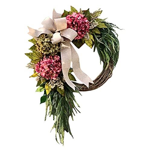 Hidyliu 40 cm vier seizoenen voordeur krans decor opknoping wijnstok krans outdoor groene krans deurhangers decoratieve…
