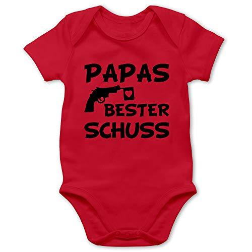 Vatertagsgeschenk Tochter & Sohn Baby - Papas Bester Treffer - 3/6 Monate - Rot - Babybody Papa - BZ10 - Baby Body Kurzarm für Jungen und Mädchen