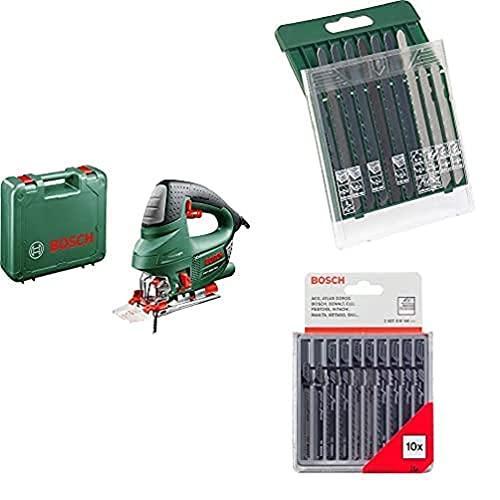 Bosch PST 900 PEL - Sierra de calar (620 W, en maletín) + Set con 10 hojas de sierra de calar con inserción universal en T + Set con 10 hojas de sierra de calar