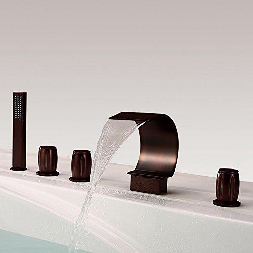 HNBMC Grifo para Lavabo de baño, Cascada Orb Cinco Agujeros grifos de baño, Llave de Lavabo de Cinco Piezas