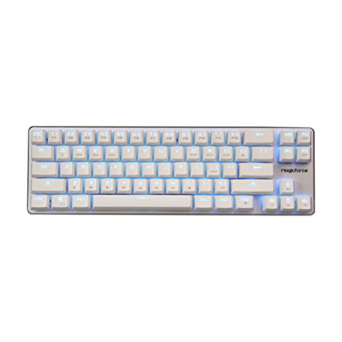 Qisan Mechanical Gaming Verdrahtete Tastatur Cherry MX Blau Schalter Eis Blau Hintergrundbeleuchtung Tastatur 68-Tasten Mini Design-Weiß Silber