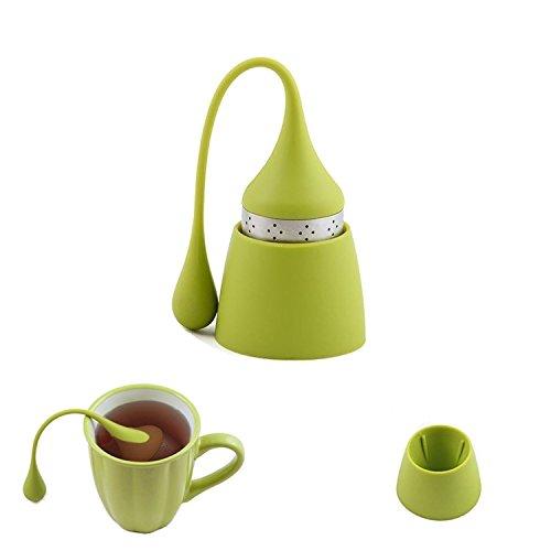 iNeibo Infusore tè Natale, Filtro Te in Silicone Alimentare con Colino Integrato in Acciaio Inossidabile e Tappetino per Appoggiare/Set di 1 filtri The