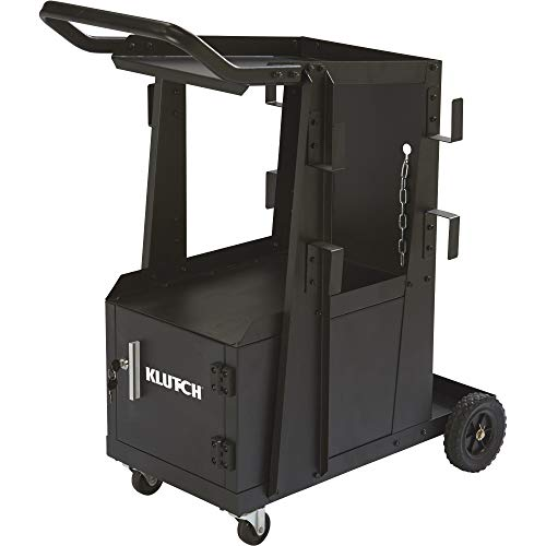 Klutch 2-Tier Welding Cart with Locking Cabinet - 27 1/4in.L x 18 3/4in.W x 35 3/4in.H