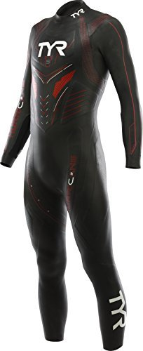 TYR Men's Hurricane Wetsuit Category 5, Black/Red, Small by