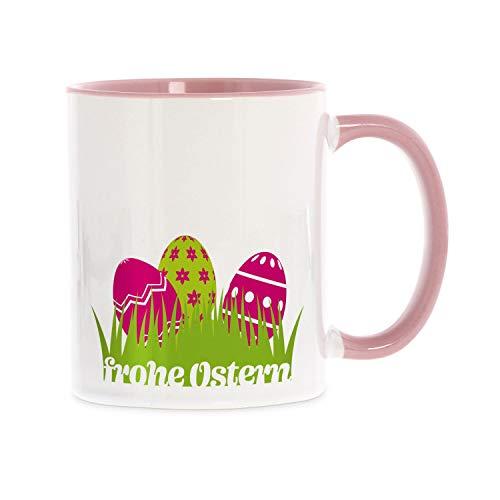 stempel-fabrik Keramiktasse rosa zweifarbig mit Aufdruck - Frohe Ostern - Kaffeetasse mit Spruch - Bedruckte Tasse - Teetasse - Bürotasse - Beidseitig Bedruckt - Geschenkideen - Ostergeschenk
