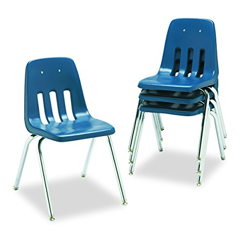 Virco Student Chair, Navy, Soft Plastic Shell, 18' Seat Height, Chrome Frame, for 5th Grade to Adults, 4 Pack (9018-BLU51)