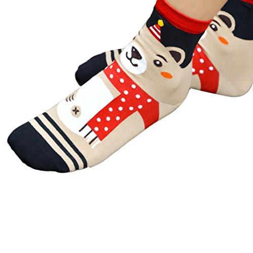 Tonsee® 3D Cartoon Chaussettes de Noël Femmes chaussettes en coton étage (A)