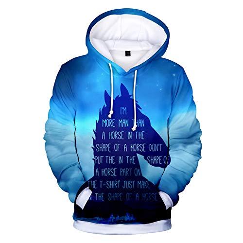 YTQQ-Bojack Horseman-Unisex 3D Sweater Streetwear, Anime Cartoon Cosplay Disfraz Sudadera Pullover Suter con cordn,Sudadera con Bolsillo de Canguro-XS