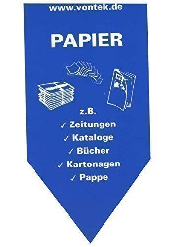 Altpapier Aufkleber Pfeilform 15x30cm Wertstoffaufkleber Mülltonnenaufkleber