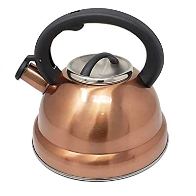 3 Quart Classic Stainless Steel Copper Finish Whistling Tea Kettle with Cool Grip Handle-Works On All Stoves Types