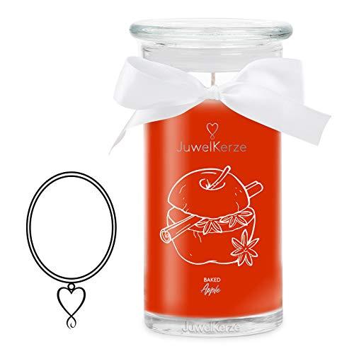 JuwelKerze 'Baked Apple' (Halskette) Schmuckkerze große Orange Duftkerze 925 Sterling Silber, besetzt mit edlen Swarovski Kristallen - Kerze mit Schmucküberraschung als Geschenk für sie