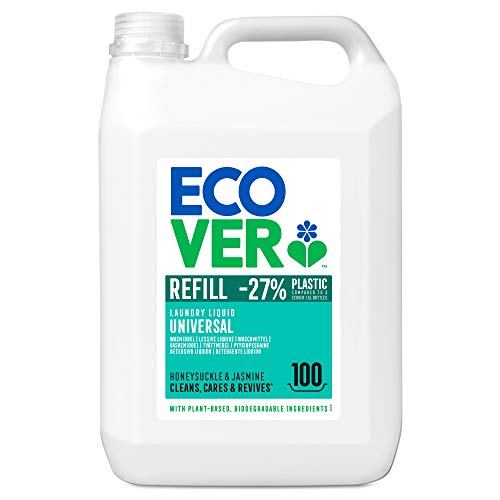 Ecover Lessive Liquide Universelle Chèvrefeuille/Jasmin Origine Naturelle pour Linge Propre Doux pour Peau Floral Format XL 100 Lavages 5 L