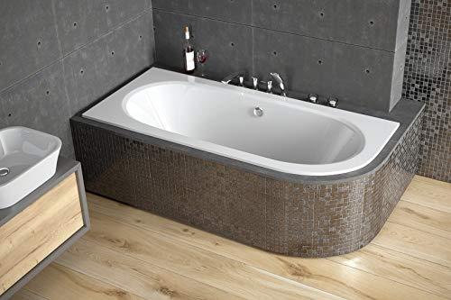 BADLAND Eckbadewanne Badewanne Eckwanne Avita LINKS 170x75 mit Ablaufgarnitur und Füßen GRATIS + ohne/mit Verkleidung Styropor (mit Styropor mit Ablage 4 cm)
