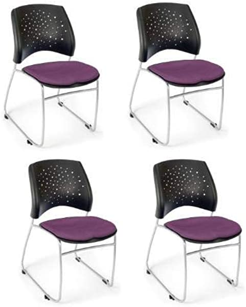 OFM 325 4PK 2214 Stars Series Armless Fabric Stacking Chair Plum Pack Of 4