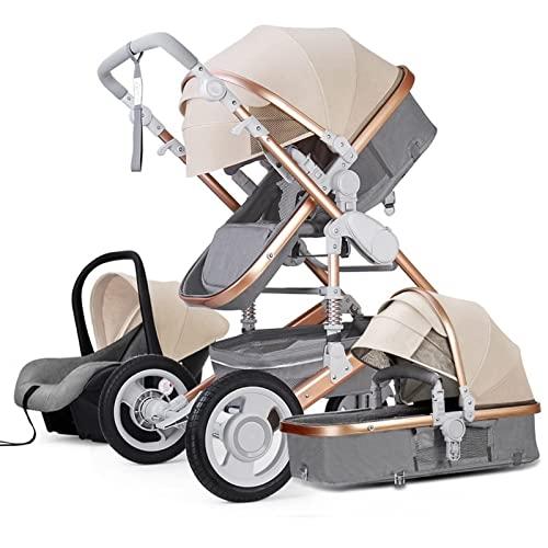 QQSS Kompaktschirm Kinderwagen, 3 In 1 High View Kinderwagen Buggy, Bewegliche Faltbare Kinderwagen Geeignet for Säuglings- Und Kleinkind Mit Mama Beutel Und Wetterschutzabdeckung,Grau