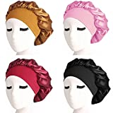 4 Pieces Satin Sleep Cap Elastic Wide Band Hat Night Sleeping Head Cover
