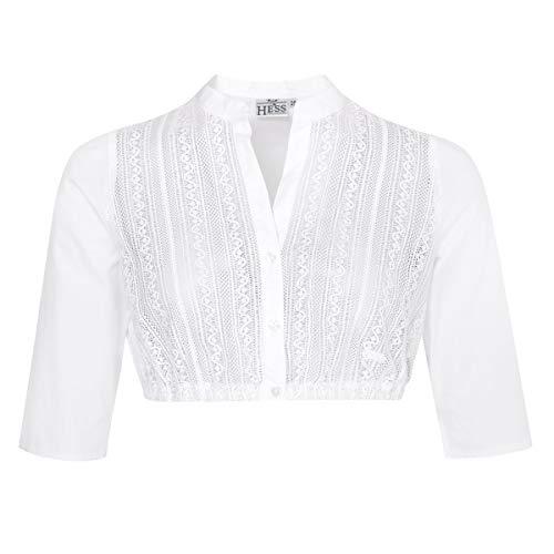 Hess Damen Trachten-Mode Dirndlbluse Amrei in Weiß traditionell, Größe:32, Farbe:Weiß
