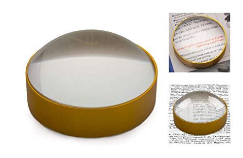 Lesestein Dome Lupe Kuppellupe 60x10mm - Hellfeldlupe mit Metall Umrandung in Gold - Halbkugellupe plankonvexe Linse - Glaslupe Lupenstein für Senioren - 4 fache Vergrößerung