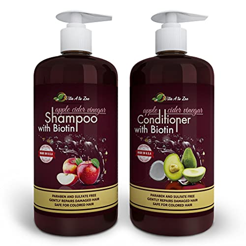 Vita A to Zee Apple Cider Vinegar Shampoo & Avocado Coconut Conditioner (2 x 16.9 fl oz)   Hair Thinning and Restores Shine   Reduces Itchy Scalp, Dandruff, Hair Loss   Moisturize & Remove Build-up