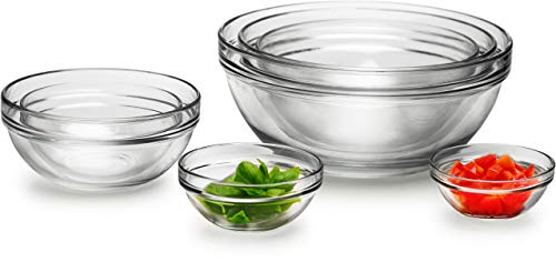 "Circleware Basic Huge Set of 7, Nested Glass Serving Mixing Bowls Set for Fruits, Salad, Dessert and all Food - 4"", 4.5"", 5.5"", 6.5"", 7.5"", 8.75"", 10"", Dishwasher Safe"