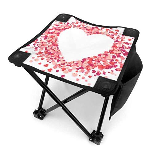 Mu You Ben Klappstuhl Outdoor Camping Hocker Sweet Love Rot Rosa Herzen Blütenblatt Leichte Faltbare tragbare Stuhl für Camping Angeln Wandern Reisen