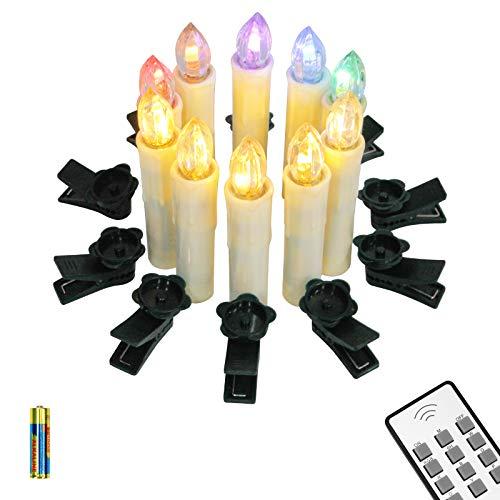 Yorbay 10er LED Kerzen kabellose Weihnachtskerzen IP64 wasserdicht RGB&Warmweiß mit Batterien, Dimmbar mit Fernbedienung und Timerfunktion, als Dekoration für Weihnachten, Weihnachtsbaum (Mehrweg)