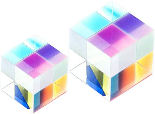 Square Cube Prism with Light Box,Colour Prism Cube,Optical Glass x-Cube dichroic Cube Prism RGB Combiner Splitter,2 pcs Square Cube Prism 15 mm and 20 mm Refractor Crystal(2PCS)