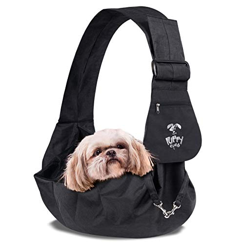 Puppy Eyes Waterproof Pet Carrier Sling Comfortable and Adjustable Dog Sling Ideal for Small & Medium Dogs up to 16 lb - Lightweight & Easy-Care Dog Carrier with Bonus car seat Belt and E-Book (black)