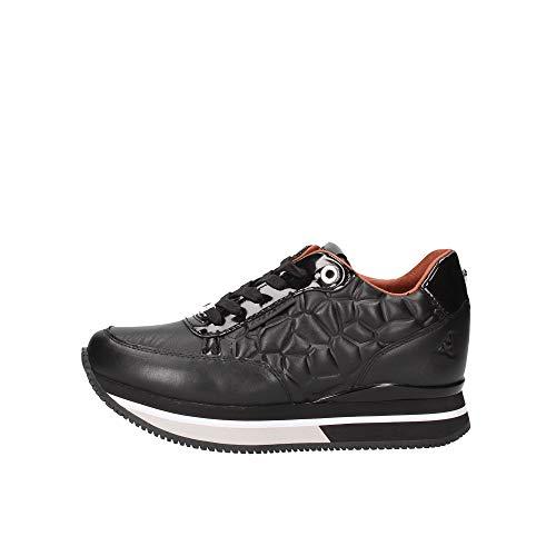 Sneaker Running Apepazza mod. Rosemery Fondo Zeppa in Pelle Trap Nero Donna D21AP02