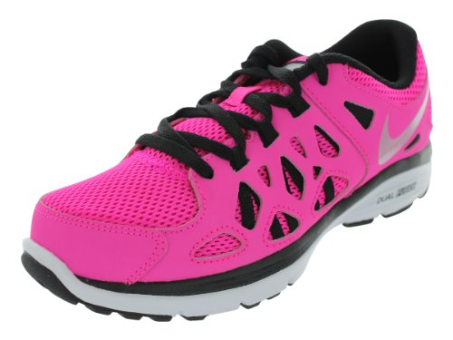 Nike Girls Dual Fusion Run Running Shoe Pink Foil/Black/White/Metallic Silver Size 6