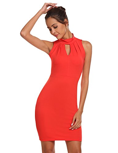 Meaneor Damen Ärmellos Neckholder Kleid Business figurbetontes Etuikleid Knielang Cocktailkleid Casual Sommerkleid